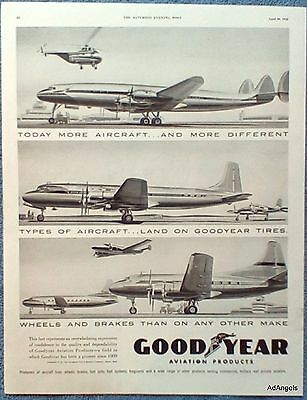 1945 Goodyear Tires Aircraft Planes Different Types Land On ad