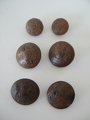Leather embossed WW1 British Royal Arms buttons WW1 economy tunic buttons RARE