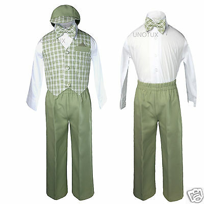 Baby BoyToddler Formal Wedding Green Gingham Vest Suit Outfits S M L XL 2T 3T 4T