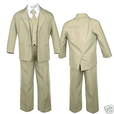 Baby Infant Toddler Kid Teen Khaki Formal Party Tuxedo 5pc Set Boy Suit sz S-20