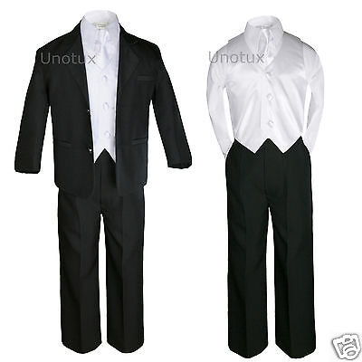 5pc White Vest Necktie Boy Infant Toddler Formal Party Black Suit Tuxedo sz S-4T