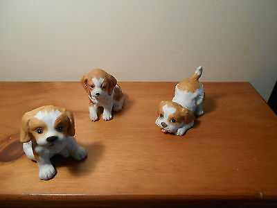 Set of 3 Cocker Spaniel Puppies Porcelain  Figurines Vintage Home Interiors