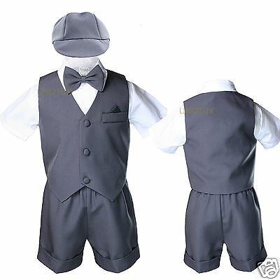 Dark Gray Infant Boys Toddler Formal Vest shorts Suits Bow Tie S M L XL 2T 3T 4T