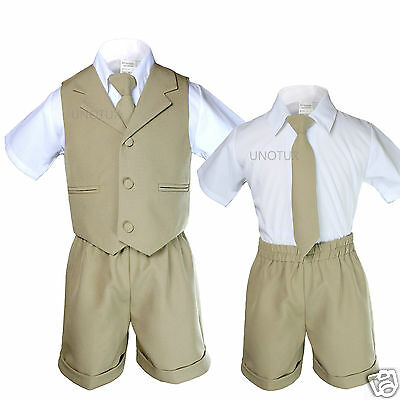 Khaki Boy Infant & Toddler Formal Eton 4 pc Vest Shorts Suit S M L XL 2T 3T 4T