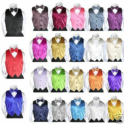 23 Color Satin Vest + Bow Tie set for Infant Toddler Boy Formal Tuxedo Suit S-7