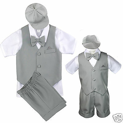 New Lt.Gray Infant Boy & Toddler Formal Vest shorts Suit Bow Tie S M L XL 2T- 4T