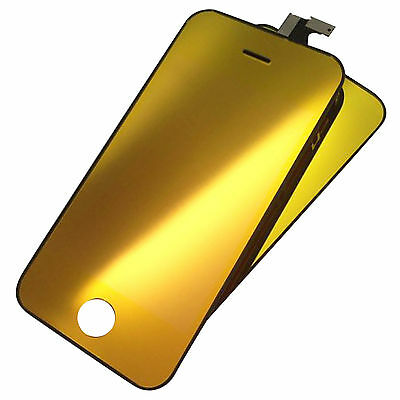 Full Gold LCD Display Touch Screen Digitizer  Assembly For iPhone 4S+Back Cover