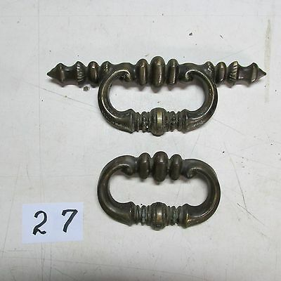 BRASS DRAWER PULL HANDLES OLD VINTAGE used No.: H-1308 and H-1315