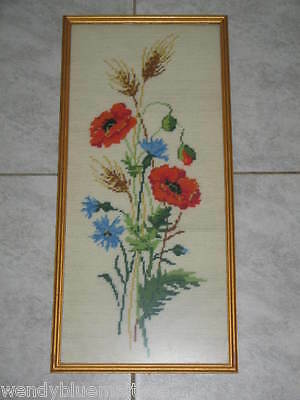 Red Poppies Blue Cornflowers Original Tapestry Picture Framed Ready to Hang