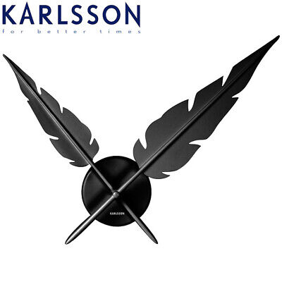 NEW Karlsson Wall Clock Feathers BLACK Unique Designer Piece No Numbers 65cm