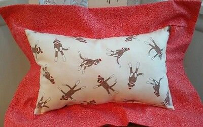 Reversible Toss Throw Cuddle Pillow Funky Monkey Baby Newborn Nursery Red NEW