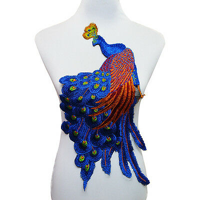 Large Peacock Applique Embroidered Patch Flower Patches Diy Clothing Sew on