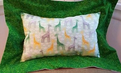 Reversible Toss Throw Cuddle Pillow Jungle Giraffe Baby Nursery Green Fuzzy NEW