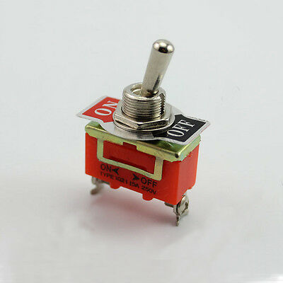 2-Pin Car Position SPST Toggle ON-OFF Switch 15A 250V Latching Terminal Orange