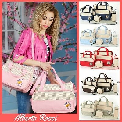 5pcs Baby Nappy Changing Bag set Mummy Shoulder Handbag Diaper Bag 8 colours 01