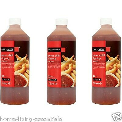 Sweet Chilli Dipping Sauce Chef's Larder 3 X 1 Litre Bottles Catering