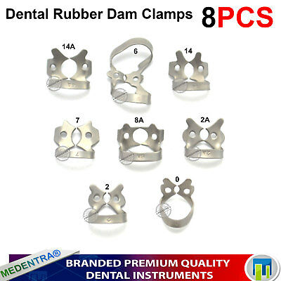 Endodontic Rubber Dam Clamps Set Of 8 Dental Restorative Instruments Lab New