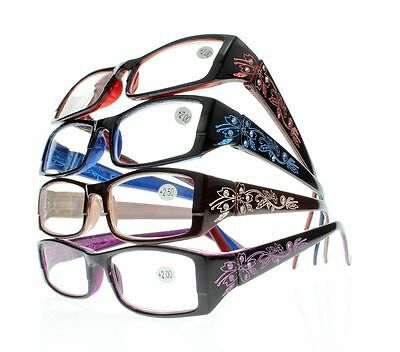 Women's Rhinestone Flower Resin Lens Spring Hinges Reading Glasses +1.0~+4.0 New