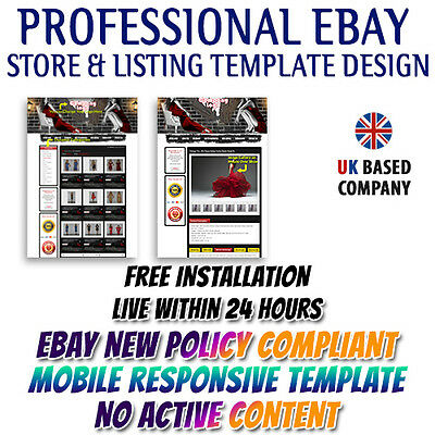 Gorgeous eBay Shop Template Design, eBay Listing Mobile Responsive Template HTML