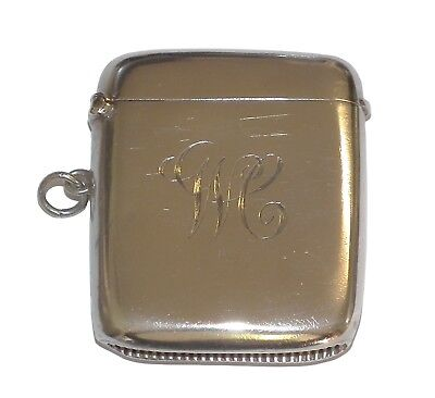 Antique 1905 Fully Hallmarked Sterling Silver Monographed Vesta Case