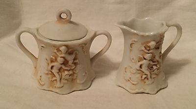 Vintage Lefton 215 Bisque Porcelain Petite Creamer & Sugar Bowl Embossed Cherubs