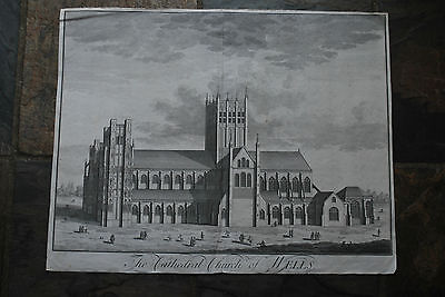 "Genuine 18th Century Print ""The Cathedral Church Wells - Copper Engraving"