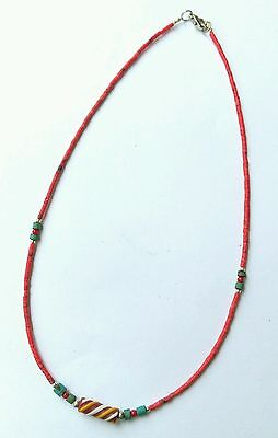 Afghan Natural Coral Tiny Seed Beads Necklace with Antique Roman Glass Pendant