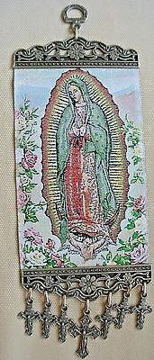 La Virgen De Guadalupe With Crosses Crucifix Woven Wall Hanging Tapestry Decor