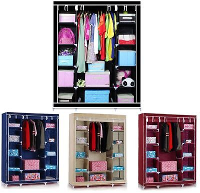 New Triple Multiple Portable Canvas Wardrobe Hanging Rail Home Funiture Storage