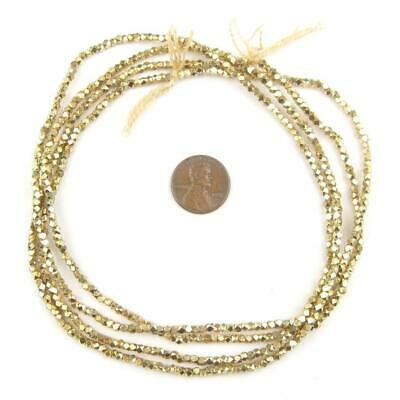Tiny Diamond Cut Faceted Gold Color Beads (2mm)