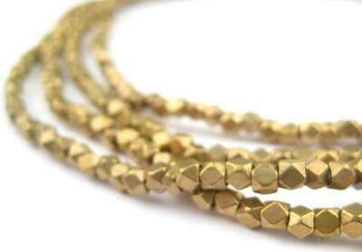 Diamond Cut Faceted Antiqued Brass Beads 3mm Large Hole 24 Inch Strand