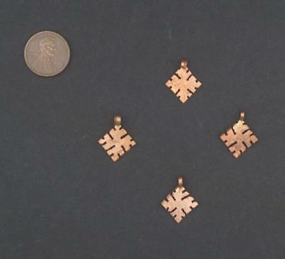 Ethiopian Copper Snowflake Ornament Set of 4 15mm African Large Hole Handmade