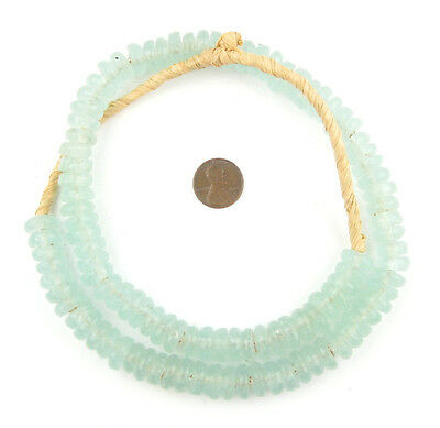 African Clear Aqua Rondelle Recycled Glass Beads Ghana