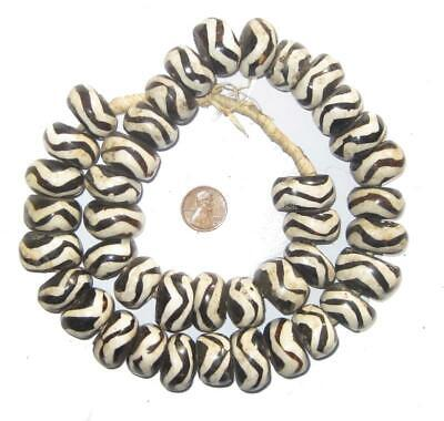 African Wave Design Batik Bone Beads (Large) Kenya