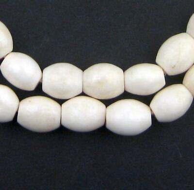 African White Nigerian Camel Bone Oval Beads Nigeria