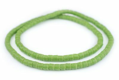 Light Green Sandcast Cylinder Beads 6mm Ghana African Glass 26 Inch Strand