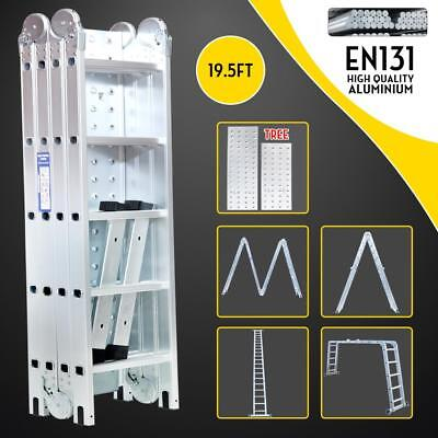 19.5FT Silver 4X5 Multi Purpose Folding Aluminum Ladder Multi Function Ladder