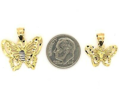 10K Solid Yellow Gold Butterfly Charm Pendant (Available in Small & Big Size)