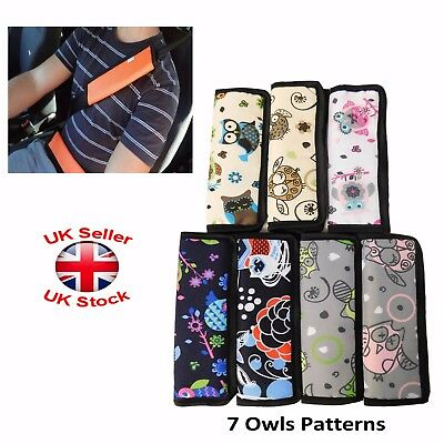 Car and Pram Safety Seat Belt Strap Shoulder Cover Harness Pad Pack:1or2 Owls
