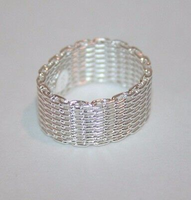 Sterling silver woven mesh band ring
