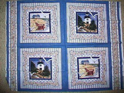 Beach & Lighthouse Scene Cotton Fabric Pillow Squares