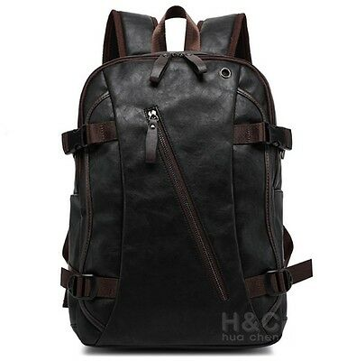 Men S Vintage Backpack School Bag Travel Satchel Pu Leather Book Rucksack