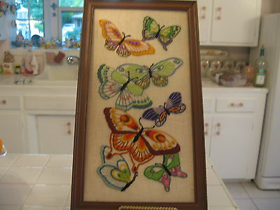 Beautiful Vintage Framed Needlepoint Embroidered Picture Of Butterflies