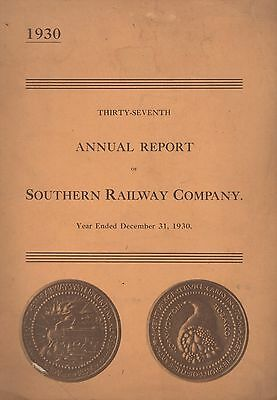 Southern Railway Company 1930 Annual Report, Good Cond L99