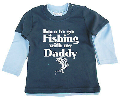 """Born to go Fishing with My Daddy"" Baby Long Sleeved Skater Top Father Gift"