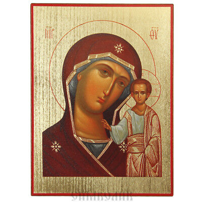 Our Lady of Kazan russian orthodox icon with golden background