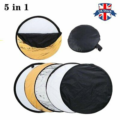 UK 110CM 5 in 1 Studio Lighting diffuser Light Mulit Collapsible Disc Reflector