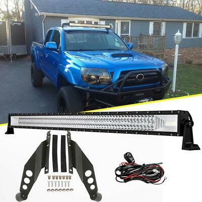 "Tri Row 50"" 2808W LED Light Bar + Roof Mounting Bracket For Toyota Tacoma 05-15"