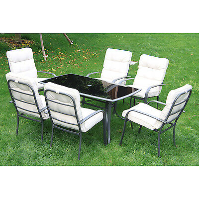 Outsunny Dining Table 6 Chairs Set Seater Metal Outdoor Garden Furniture Cushion
