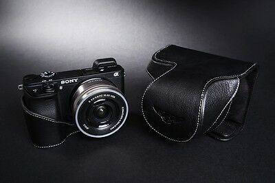 Genuine Real Leather Full Camera Case Bag Cover for Sony A6300 16-50mm Lens B